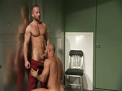 Hairy gay man sucks bear doctor