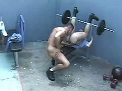 Severe beefy dick-holders do devote oral job in prison gym