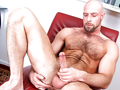 Hairy daddy wanks his shlong until he cums all over furry body