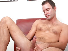 hot mature guy with hairy torso jerks off his tasty dong