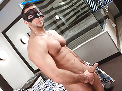 Masked model JP blows a big load all over his hirsute chest