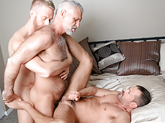 3 men from different decades hook up in a savoury three form