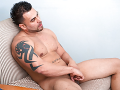 Horny Latino stud jerks his big cock until her cums hard