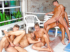 Swim team orgy ends in Marko getting gangbanged & bukkaked