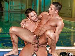 Buff bodyguard Julian joins Glen in the jacuzzi for some joy