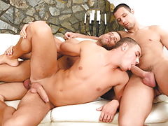 Enrico gets double-stuffed by gorgeous euro twins Alex & Ian