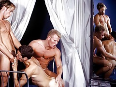 3 sexually aroused dudes in a photo shoot run untamed ! They love cock!