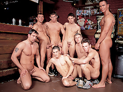 Mega sweaty hunks in a group orgy fuck fest happens in a bar