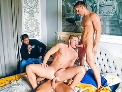 Julian films in the corner as 3 hot boys go at it on the bed