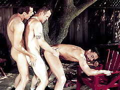 The three buddies fuck in per position till they all cum.