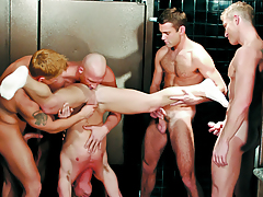 Males Enjoying An Orgy Of Sucking & Rimming In The Bathroom