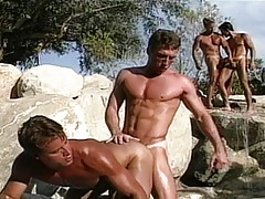 Very sweaty dick-holders are next to the pool and they suck and fuck !